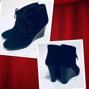 Franco Sarto Weston Black Suede Boots Wedge Heel